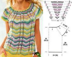 Chorrilho de ideias: Blusa colorida decote redondo em crochet com esque...