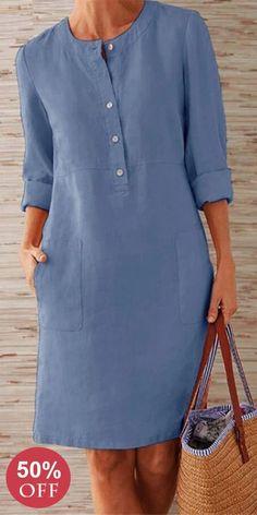 Prime Today🤣Boho Plus Size Elegant Fashion Mini Dress--SHOP NOW Source by suckiegordon dresses elegant Linen Dresses, Casual Dresses, Casual Outfits, Fashion Dresses, Mode Outfits, Retro Outfits, African Fashion, Plus Size Fashion, Petite Fashion
