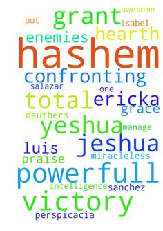 Please pray for me, my name is ericka to - Please pray for me, my name is ericka to my powerfull and awesome Hashem in the name of Yeshua. Pray for me so that Hashem in the name of Jeshua grant me the wishes of my hearth in a miracleless way total victory over powerfull enemies that I am confronting please grant me by your mercy total victory over them. Please pray to Hashem in the name of Yeshua so that Hashem touch the hearth of Isabel de S. Carlos S, Lizbeth S, Luis. kathya every one in…