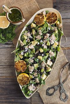 Tuna and Arugula Salad with Avocado, Black Olives and Lemon Parsley Vinaigrette