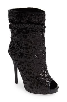 12d5db59e71ea1 Excited to show off these black sequin peep toe booties! Sexy Boots