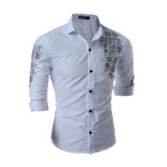 Camisa Masculina 2017 New Spring Flower Printed Shirt Men Long Sleeve Slim Casual Mens Shirts Chemise Homme Brand Clothing XXXL