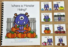 """Where is Monster Hiding?"" is a pumpkins themed or Halloween themed adapted book that teaches prepositions or positional words and reinforces colors and color words.   In this activity, the teacher or therapist reads the story as the students identify the monster's position in relation to the colored pumpkin or pumpkins on each page. Students will match a position or preposition card to each page as the teacher reads. Students working independently can work through the book in a literacy…"