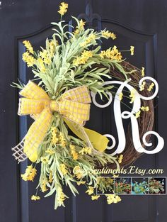 Summer Wreath - Floral Wreath for door- Home Decor - Spring Wreath for door Wreath - Door Wreath - Spring Wreaths  A spray of soft yellow wildflowers are secured to a large grapevine base. The yellow burlap ribbon matches perfectly. We have other color choices as well; blue, Coral/peach and Ivory - or any combination of these. Personalize your wreath with the 12 inch vine monogram displayed or a 9.5 inch block monogram. If you would like the block style or if you would prefer another color…