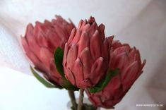 PINK ICE protrea flower made from gumpaste  #gumpasteprotea #gumpasteflowers #sugarflowers #sugarprotea Gum Paste Flowers, Sugar Flowers, Flower Making, Watermelon, Ice, Candy, Fruit, Crystals, Food
