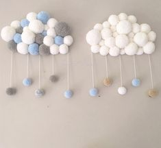 Comment faire un nuage de pompons - Artisanat . Baby Room Design, Baby Room Decor, Baby Sewing Projects, Sewing Crafts, Christmas Pom Pom Crafts, Pom Pom Baby, Wall Hanging Crafts, Diy Bebe, Etsy Crafts