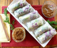 Raw Vegan Veggie Spring Rolls recipe & 2 dipping sauces