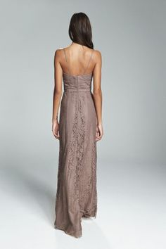 EDRA. Lace spaghetti strap with cumberbund waist bridesmaids gown shown in Truffle. Available in 11 colors.