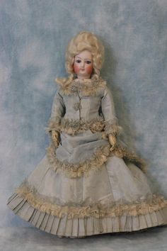"""Antique 12"""" c.1875 FG French Fashion Size 0 Bisque Doll Marie Antoinette Wig in Dolls & Bears, Dolls, Antique (Pre-1930), Bisque, French 