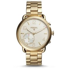 Fossil Hybrid Smartwatch - Q Tailor Gold-Tone Stainless Steel Ftw1144 ($175) ❤ liked on Polyvore featuring jewelry, fossil jewellery and fossil jewelry
