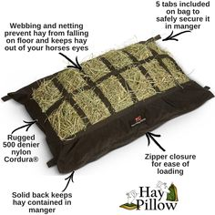 The Manger Hay Pillow is designed to contain hay in your horse trailer manger - keeping it off of the floor and out of your horse's eyes.  Transport can be stressful for horses. Supplying plenty of forage during your trip helps to keep your horse happy on the road! 🐴 🚌  Available on our website!
