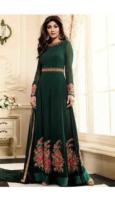 Shlipa Shetty Green Long Georgette Anarkali Churidar Suit With Dupatta - DMV14798