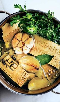 Use this rich and versatile parm broth in vegetable soups, instant-supper pastas, and beans in need of a boost. Korma, Biryani, Parmesan Rind, Specialty Foods, Soup And Salad, Soup Recipes, Veggie Recipes, Recipies, Soups And Stews