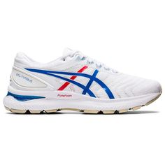 Womens Asics GEL-Nimbus 22 (White/Blue) Womens Asics GEL-Nimbus 22 (White/Blue)Style Number: new GEL-Nimbus 22 will blow your mind! It has softer GEL technology in the heel for better shock absorption. Asics has also. Running Asics, Running Shoes For Men, Running Women, Running Clothing, New Reebok Shoes, Nike Shoes, Shoes Men, Tattoo Model Mann, La Migration