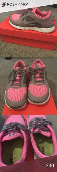 Nike Free 5.0 with box Pink and grey. Worn a handful of times. Nike Shoes Athletic Shoes