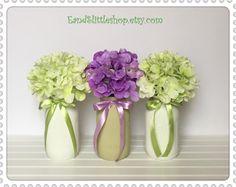 Spring Mason Jars-Set of 3 Shabby Chic Mason Jars-Home Decor-Wedding Centerpieces-Spring Decor-Vintage Decor-Shabby Chic Decor-White-Green by EandSlittleShop on Etsy