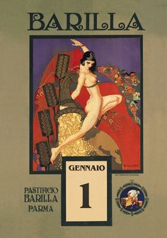 Emma Bonazzi, Semele's Gold,calendar illustration for Barilla, 1923. Italy. Via liberty.it