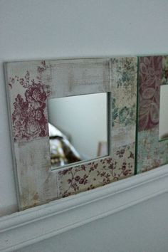 Frame Crafts, Diy Frame, Wood Crafts, Diy And Crafts, Ikea Mirror, Mirrors, Decoupage, Art Furniture, Painted Furniture