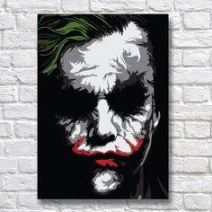 The Joker Poster The Dark Knight Wall Art Print Suicide Squad Heath Ledger DC Comics Artwork FanArt Joker Kunst, Batman Kunst, Batman Art, Joker Poster, Art Du Joker, Illustration Batman, Heath Ledger, Joker Painting, Painting Art