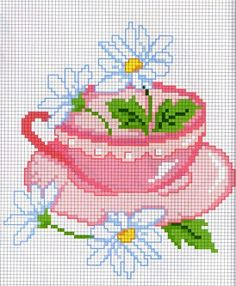 daisies and tea cup cross stitch Cross Stitch Kitchen, Cross Stitch Art, Cross Stitch Flowers, Cross Stitch Designs, Cross Stitching, Cross Stitch Patterns, Embroidery Art, Cross Stitch Embroidery, Embroidery Designs