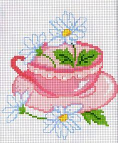 daisies and tea cup cross stitch Çapraz Dikiş Kartları, Kanaviçe Tasarımları, Çapraz Dikiş Desenleri, Filet Crochet, Nakış Desenleri, Kanaviçe Gül, Modern Kanaviçe, Elde Nakış, Tığ Işleri