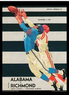 Vintage Alabama Crimson Tide Football - Alabama: 66; Richmond: 0 November 11, 1961 Tuscaloosa, AL #Alabama #RollTide #BuiltByBama #Bama #BamaNation #CrimsonTide #RTR #Tide #RammerJammer