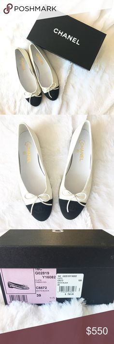 Authentic Chanel CC Cap Flats Authentic and never worn! These shoes are a classic ballet flats in a white iridescent fabric with a black cap toe with a bow and embroidered CC logo. Retails at  $750 and comes with original box. CHANEL Shoes Flats & Loafers