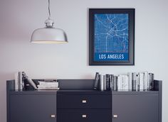 Los Angeles CA Map, Art, Print, Poster, Wall Art.