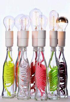 New nails gel art lamps Ideas Bottles And Jars, Glass Bottles, Bottle Lamps, Lamp Design, Lighting Design, Concours Design, Diy Luz, Garrafa Diy, Diy Luminaire