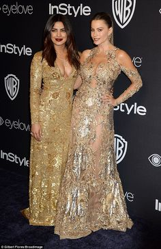 Double trouble: Sofia looked in good spirits later on however when she attended the InStyle and Warner Bros after party later that night with Priyanka Chopra
