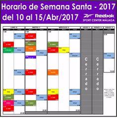 Horario especial de Semana Santa 2017:  *Horario de apertura: Lunes 10/4/17: de 7:00 a 23:00hh; Martes 11/4/17: de 7:00 a 22:00hh; Miércoles 12/4/17: de 7:00 a 22:00hh; Jueves 13/4/17: cerrado por festivo autonómico; Viernes 14/4/17: cerrado por festivo nacional y Sábado 15/4/17: de 8:00 a 15:00hh. *El horario de actividades colectivas se ha modificado para aquellas clases que comienzan de las 17:00hh, en adelante.