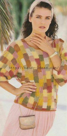 """Пуловер в стиле """"пэчворк"""" своими руками. Вязание спицами."""