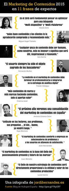El Marketing de Contenidos 2015 en 11 frases de expertos. Infografía en español. #CommunityManager