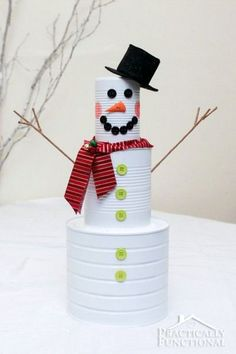 tin can snowman for christmas, Recycled Tin Can Craft Ideas, http://hative.com/recycled-tin-can-craft-ideas/,