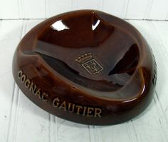 Mid Century Large Brown Ceramic Ashtray  Vintage by DivineOrders, $17.00