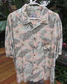 HAWAIIAN Aloha SHIRT XL pit to pit 26 CARIBBEAN JOE Rayon Tropical floral foliag #SeeDescription #Hawaiian
