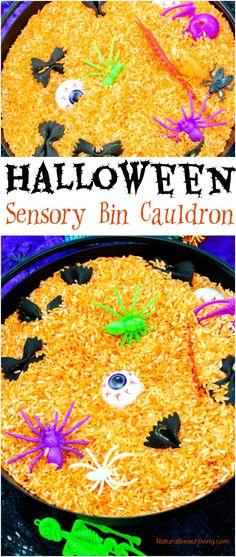 Easy Halloween Sensory Bin, Halloween Sensory Bin Preschool Ideas, Halloween Sensory Play, Witch and Bat ideas for Halloween #Halloween #sensoryplay #sensorybin