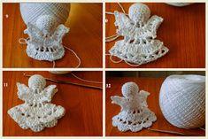 Hawwa57 - Szydełkowe dzergadła: Malutki aniołek krok po kroku Crochet Angels, Crochet Hats, Tree Templates, Crochet Christmas Ornaments, Diy And Crafts, Crochet Earrings, Jewelry, Google, Winter