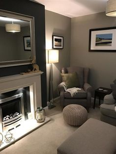 An inspirational image from Farrow & Ball. An inspirational image from Farrow & Ball. Farrow And Ball Living Room, Cosy Living Room, Living Room Suite, Apartment Room, Living Room Decor, Snug Room, Living Room Color, Living Room Grey, Modern Apartment Living Room
