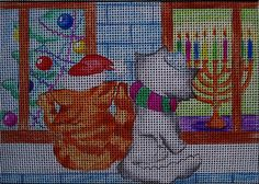 Needlepoint canvas 'Christmas Hannukka Cats'