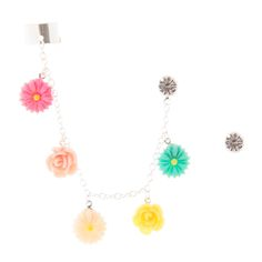 <P>Pretty and girly, a silver ear cuff is attached to a crystal stud. The chain features pink, light pink, ivory, yellow, and turquoise flowers. Another crystal stud earring completes the set. </P><UL><LI>Silver-tone finish <LI>Studs: Feature a stud back and butterfly fastening <LI>Ear cuff: Features an adjustable cuff </LI></UL>