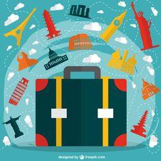 Guia de viajes para principiantes Big Suitcases, My Design, Graphic Design, Vector Background, Vector Free, Design Inspiration, Branding, Invitations, Travel
