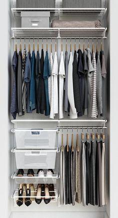 Elfa Classic 3 White Reach-In Closet Reach In Closet, Tiny Closet, Small Closets, Open Closets, Dream Closets, Small Closet Design, Closet Designs, Small Closet Organization, Clothing Organization