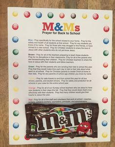 FREE M&Ms Prayer For Back To School