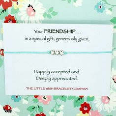 Friends wish bracelet on a sentiment quote card. by Coastalloveuk