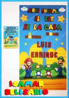 Mario Bros.- Cartel de bebe-niños letras- Nacimiento - baby shower- foami. bebe-accesorios-decoración Elaborado Por Isamar Belisario