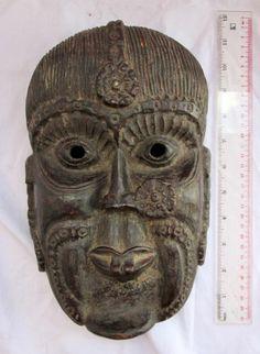 BEAUTIFULLY CARVED Old Tharu Bodhi Tree Wood Shaman Exorcism Mask