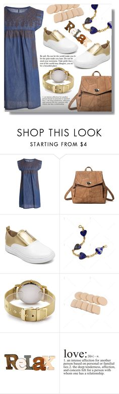 """""""Stylish Round Collar Sleeveless Chambray Women's Dress"""" by fashion-pol ❤ liked on Polyvore featuring WALL and vintage"""