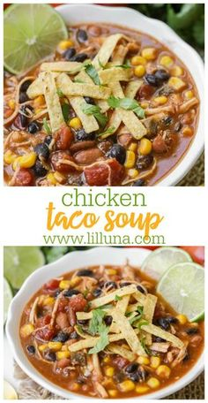 A warm tasty soup full of chicken beans corn spices and of course - tortilla strips on top! You're going to love this hearty delicious chicken taco soup that can be enjoyed all year long - especially in the fall! Comida Latina, Think Food, Crock Pot Soup, Frijoles, Slow Cooker Chicken, Crockpot Chicken Taco Soup, Easy Taco Soup, Taco Soup With Chicken, Chicken Soups
