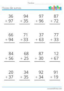 hoja de sumas dos cifras llevando